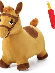 cheap -Bouncy Pals Yellow Hopping Horse, Outdoor Ride on Bouncy Animal Play Toys, Inflatable Hopper Plush Covered W/ Pump, Activitie Gift for 18 Months 2 3 4 5 Year Old Kids Toddlers Boys Girls