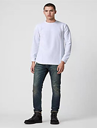 cheap -Men's T shirt Solid Colored Plus Size Long Sleeve Daily Tops Basic Exaggerated White Black
