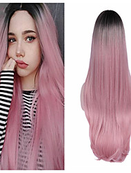 cheap -Synthetic Wig Natural Straight Middle Part Wig Medium Length A15 A16 A17 A18 A19 Synthetic Hair Women's Cosplay Party Fashion Dark Gray Pink