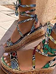 cheap -Women's Sandals Boho Bohemia Beach Roman Shoes Gladiator Sandals Wedge Heel PU Black Green Brown