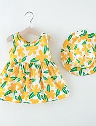 cheap -Toddler Little Girls' Dress Flower Print Red Yellow Knee-length Sleeveless Regular Dresses Summer Loose 2-6 Years