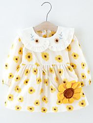 cheap -Toddler Little Girls' Dress Daisy Flower Print Yellow Knee-length Long Sleeve Regular Dresses Spring &  Fall Loose 2-6 Years