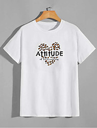 cheap -Men's Unisex T shirt Hot Stamping Heart Plus Size Print Short Sleeve Casual Tops 100% Cotton Basic Casual Fashion White