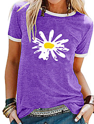 cheap -Women's T shirt Floral Flower Daisy Print Round Neck Tops Basic Basic Top Black Blue Purple