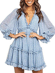 cheap -murimia women's v neck floral mini dress ruffle backless flowy swing party dresses blue