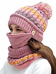 cheap -women girls knitted hat scarf mask set winter fleece lined beanie knit ear flaps hat with pompom (pink)