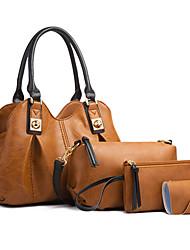 cheap -Women's Bags PU Leather Bag Set 4 Pieces Purse Set Zipper Solid Color Daily Going out Bag Sets 2021 Handbags Black Green Brown