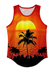 cheap -Men's Vest T shirt 3D Print Graphic Prints Tree Sun 3D Print Sleeveless Daily Tops Basic Casual Orange