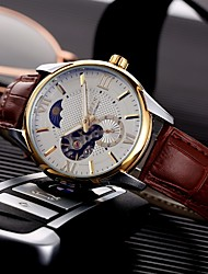 cheap -Men's Mechanical Watch Analog Automatic self-winding Stylish Noctilucent / One Year / Titanium Alloy / PU Leather