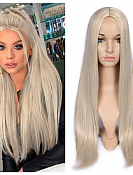 cheap -Synthetic Wig Natural Straight Middle Part Wig Medium Length A15 A16 A17 A18 A19 Synthetic Hair Women's Cosplay Party Fashion Blonde