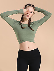 cheap -Women's Long Sleeve Running Shirt Tee Tshirt Top Athletic Summer Quick Dry Breathable Soft Gym Workout Running Active Training Jogging Exercise Sportswear Solid Colored Dark Grey Turf Green Jade