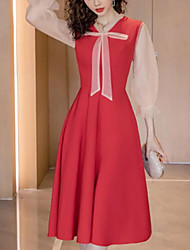cheap -A-Line Elegant Vintage Homecoming Cocktail Party Dress V Neck 3/4 Length Sleeve Tea Length Stretch Fabric with Bow(s) Pleats 2021