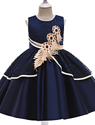 cheap -Kids Little Girls' Dress Butterfly Floral Solid Colored Beaded Layered Lace Blue Blushing Pink Wine Knee-length Sleeveless Regular Cute Dresses Children's Day All Seasons Slim 3-12 Years