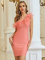 cheap -Sheath / Column Sexy bodycon Homecoming Cocktail Party Dress One Shoulder Sleeveless Short / Mini Spandex with Ruffles 2021