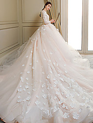 cheap -Princess Ball Gown Wedding Dresses Jewel Neck Chapel Train Lace Tulle Long Sleeve Formal Romantic Luxurious with Bow(s) Appliques 2021