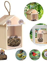 cheap -DIY Sucker Bird Nest Wooden House Handmade Eco-friendly Cage Outdoor Birdhouse Garden Yard Hanging
