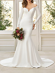cheap -Mermaid / Trumpet Wedding Dresses V Neck Court Train Italy Satin Long Sleeve Simple with 2021