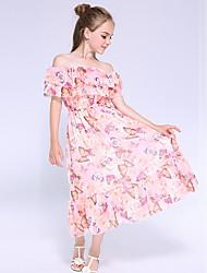 cheap -Kids Little Girls' Dress Floral Holiday Print Blushing Pink Maxi Sleeveless Cute Dresses Summer Loose 5-13 Years
