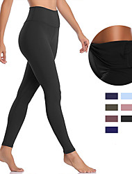 cheap -Women's High Waist Yoga Pants Back Pocket Stirrup Leggings Tummy Control Butt Lift 4 Way Stretch Baby blue Black Purple Nylon Non See-through Fitness Gym Workout Running Sports Activewear High