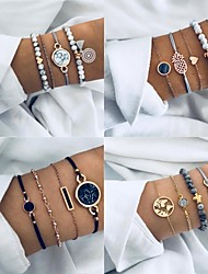 cheap -Women's Bead Bracelet Layered Heart Love Boho Alloy Bracelet Jewelry Blue For Party Evening Festival
