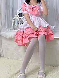 cheap -Lolita Cute Dress Women's Japanese Cosplay Costumes Pink Solid Color Above Knee