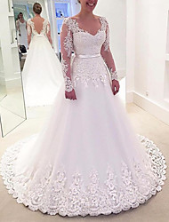 cheap -Princess A-Line Wedding Dresses V Neck Sweep / Brush Train Lace Tulle Long Sleeve Formal Romantic Luxurious with Bow(s) Appliques 2021