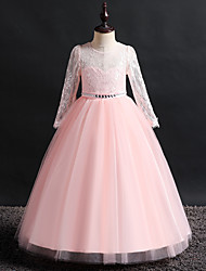 cheap -Princess / Ball Gown Floor Length Wedding / Party Flower Girl Dresses - Lace / Tulle Long Sleeve Jewel Neck with Beading / Solid