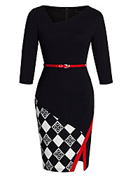 cheap -ladies without arm asymmetrical v-neck belted tight dress b290 (eu 38 (manufacturer size: m), black + grid - 3/4 sleeves)
