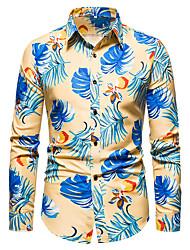 cheap -Men's Shirt Graphic Long Sleeve Daily Tops Black Yellow