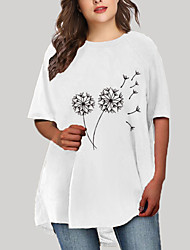cheap -Women's Plus Size Graphic Floral Print Casual Half Sleeve Fall Short Mini Dress T Shirt Dress Tee Dress White