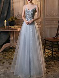 cheap -A-Line V Neck Floor Length Tulle Bridesmaid Dress with Sequin / Appliques / Sparkle & Shine