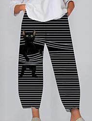 cheap -Women's Plus Size Pocket Print Cat Graphic Sweatpants Ankle-Length Wide Leg Black