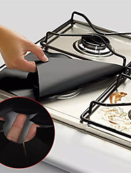 cheap -4pcs Reusable Gas Range Protector Gas Stove Burner Safe Non-Sticky and Easy to Clean Teflon Glass Fiber Black Protective Pad for Cleaning Kitchen Tools