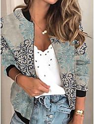 cheap -Women's Print Print Active Spring &  Fall Jacket Regular Daily Long Sleeve Air Layer Fabric Coat Tops Light gray