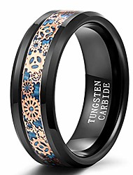 cheap -trumium 8mm mens tungsten ring gear steampunk wheel carbon fiber inlay wedding band black comfort fit size 8.5