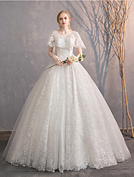 cheap -Princess Ball Gown Wedding Dresses V Neck Floor Length Lace Tulle Sleeveless Romantic with Appliques 2021