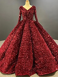 cheap -Ball Gown Luxurious Sparkle Quinceanera Prom Dress V Neck Long Sleeve Floor Length Sequined with Pleats Sequin 2021