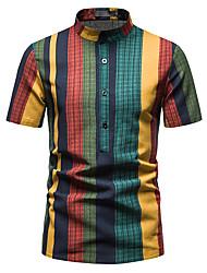 cheap -Men's Shirt Other Prints Striped Short Sleeve Daily Tops 100% Cotton Dark Green