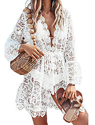 cheap -Women's Cover Up Beach Dress Swimsuit Hollow Out White Swimwear Bathing Suits