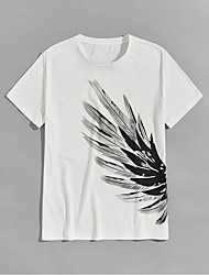 cheap -Men's Unisex T shirt Hot Stamping Wings Plus Size Print Short Sleeve Casual Tops 100% Cotton Basic Casual Fashion White
