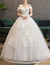 cheap -Princess Ball Gown Wedding Dresses Off Shoulder Floor Length Lace Tulle Short Sleeve Romantic with Appliques 2021