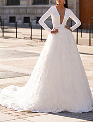 cheap -A-Line Wedding Dresses Jewel Neck Court Train Lace Italy Satin Long Sleeve Country Sexy Luxurious with Sashes / Ribbons 2021
