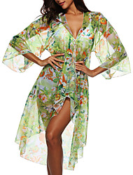 cheap -Women's Cover Up Swimsuit Floral Green Swimwear Bathing Suits