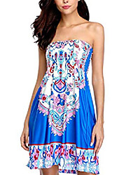 cheap -women strapless cover up bandeau beach dress bohemian swimsuits cover up dress