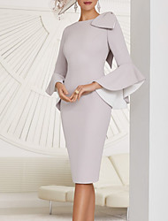 cheap -Sheath / Column Mother of the Bride Dress Elegant Jewel Neck Knee Length Stretch Fabric Long Sleeve with Bow(s) Ruffles 2021