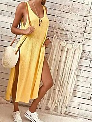 cheap -2020wish hot style european and american women's solid color fashion slit sleeveless loose dress