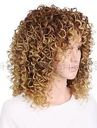 cheap -wigs european and  ladies gradient color short curly wigs ladies rose inner mesh chemical fiber headgear