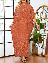 cheap -Women's Plus Size Dress Swing Dress Maxi long Dress Batwing Sleeve Long Sleeve Polka Dot Print Casual Spring &  Fall Orange One Size