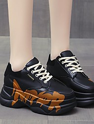 cheap -Women's Trainers Athletic Shoes Flat Heel Round Toe Booties Ankle Boots PU Lace-up Solid Colored Black Orange Beige / Booties / Ankle Boots