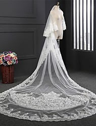 cheap -Two-tier Cute Wedding Veil Chapel Veils with Pattern Lace / Tulle